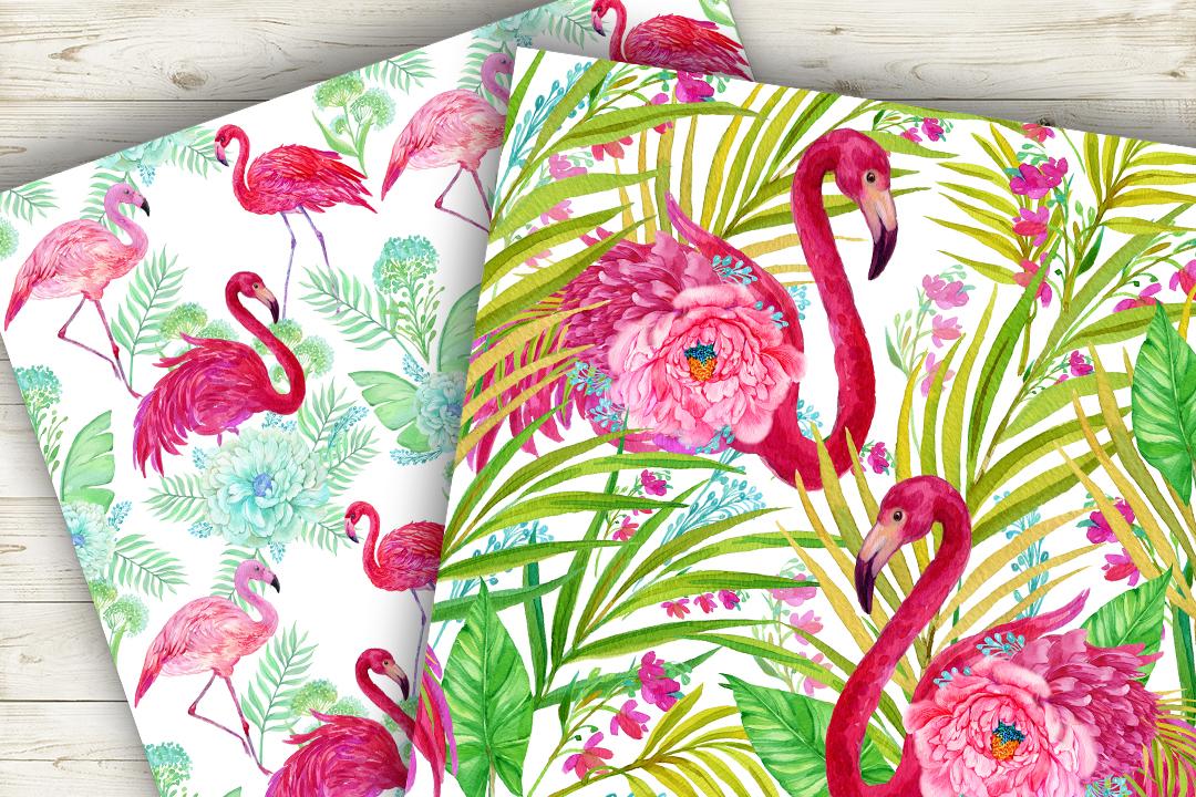 Flamingo.Seamless patterns, example image 6