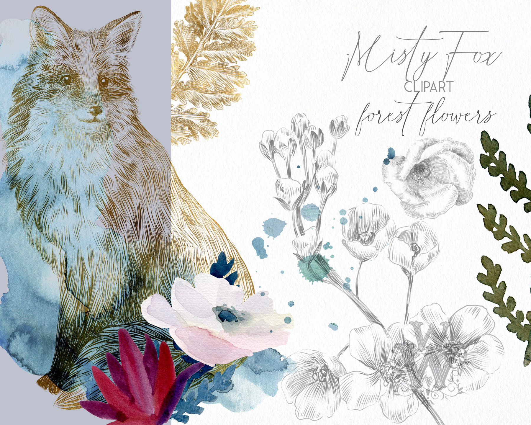 Watercolor forest flowers clipart, fox graphics wedding art example image 9
