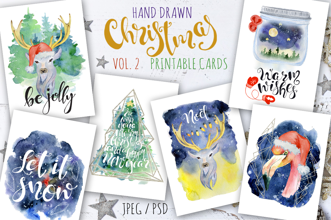 Magical Winter Bundle. Big Watercolor and lettering collection example image 3