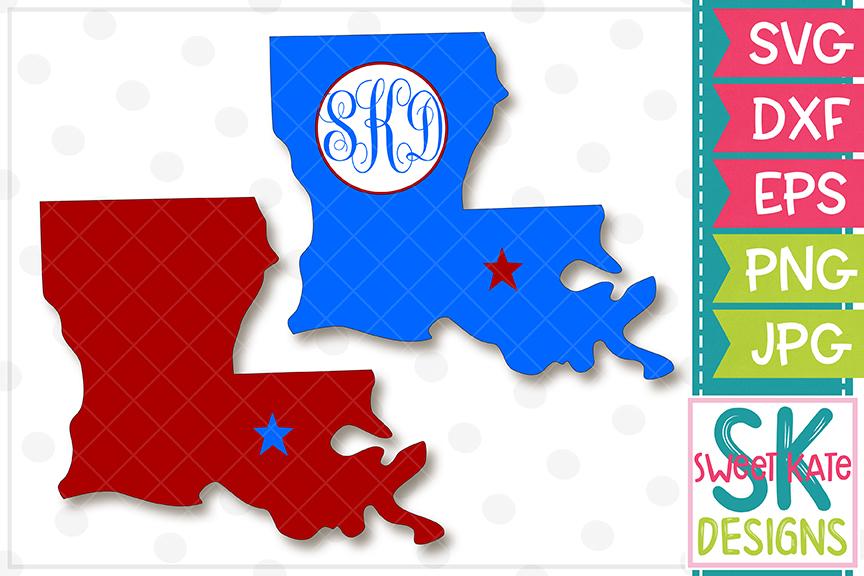 Louisiana with Monogram Option SVG DXF EPS PNG JPG example image 1
