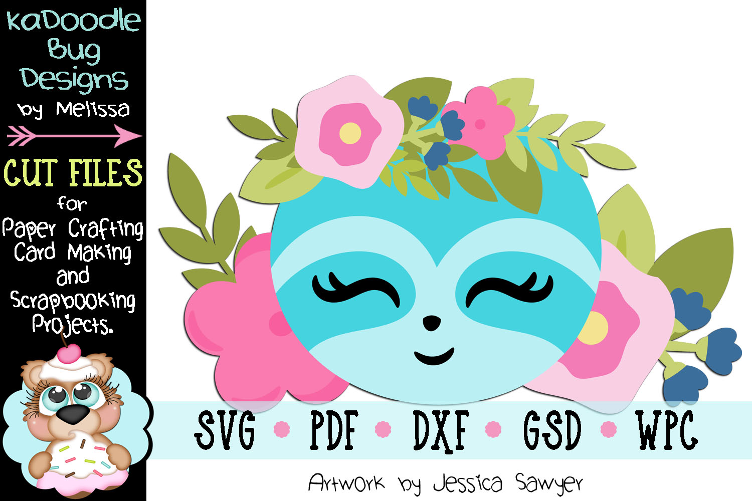 Easter Spring Floral Sloth Cut File - SVG PDF DXF GSD example image 1