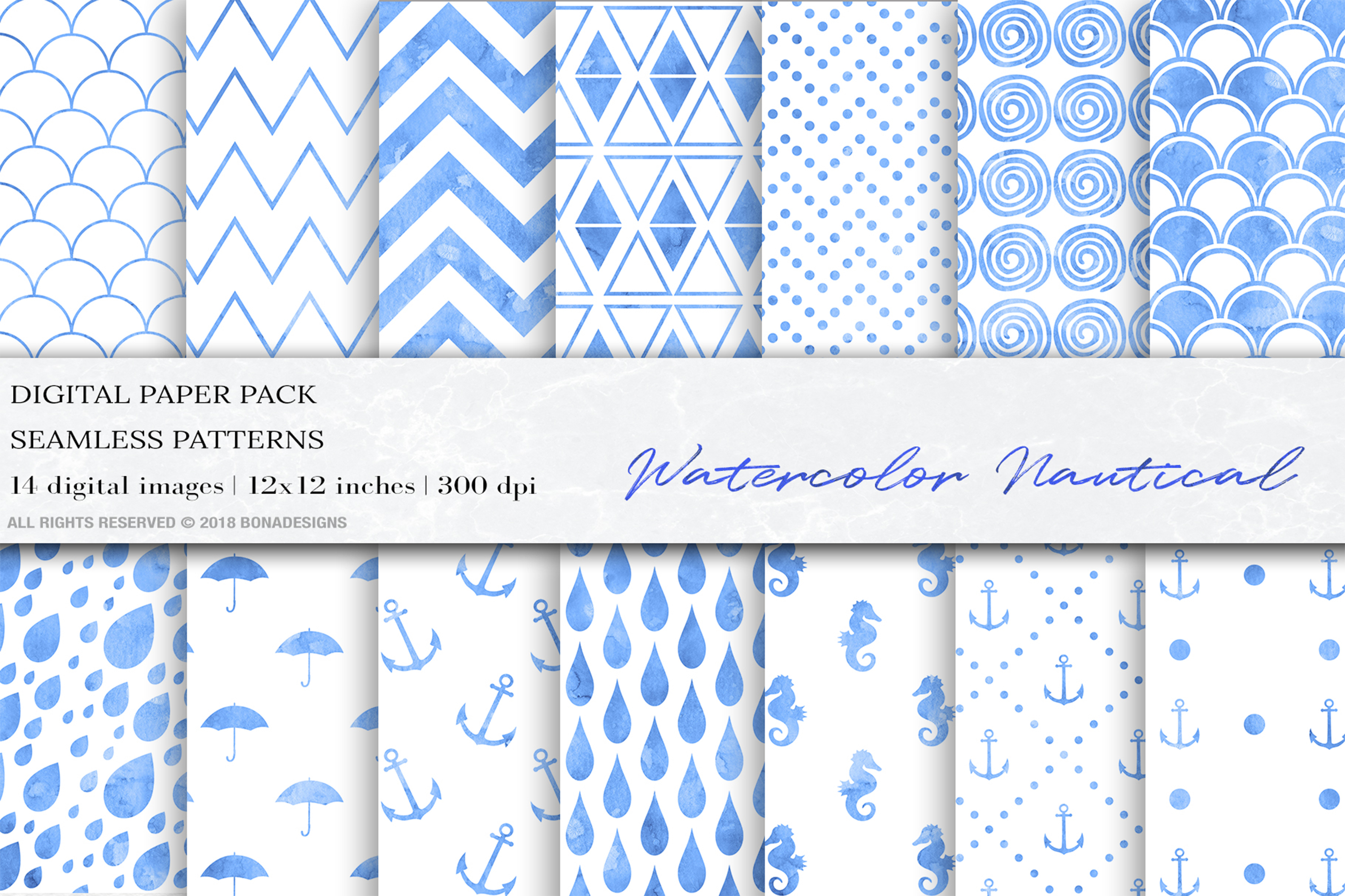 Blue Watercolor Nautical Digital Papers example image 1