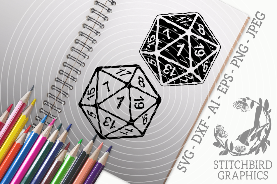 D20 1 distressed twin pack SVG, Silhouette Studio, Cricut example image 1