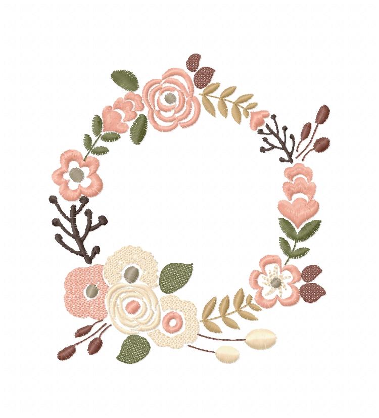 Floral Wreath Font Frame Monogram Design - EMBROIDERY DESIGN FILE - Instant download - Vp3 Hus Dst Exp Jef Pes formats 5 sizes 3,4,5,6,7inch example image 5