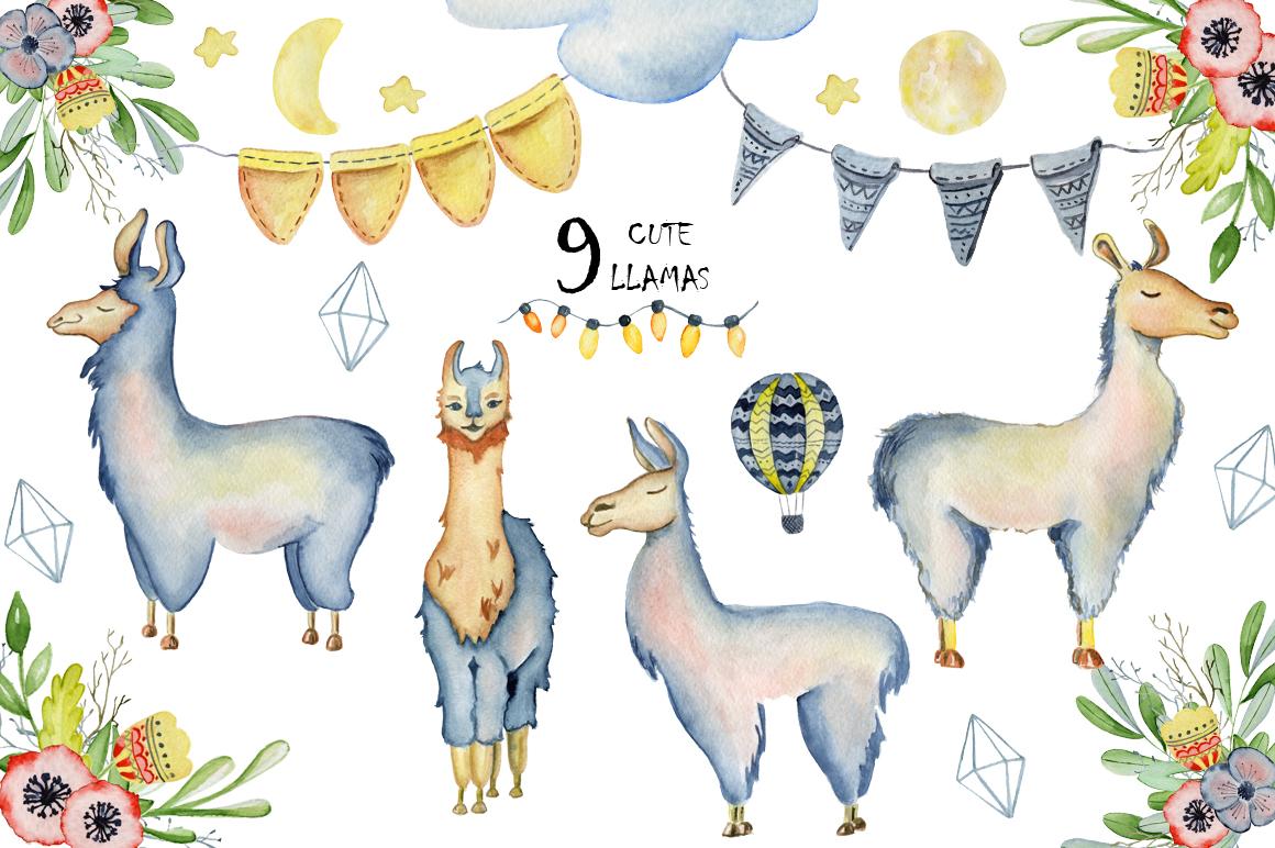 Cute llamas. Watercolor animals clipart example image 9