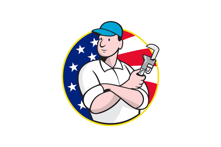 American Plumber Worker With Adjustable Wrench example image 1