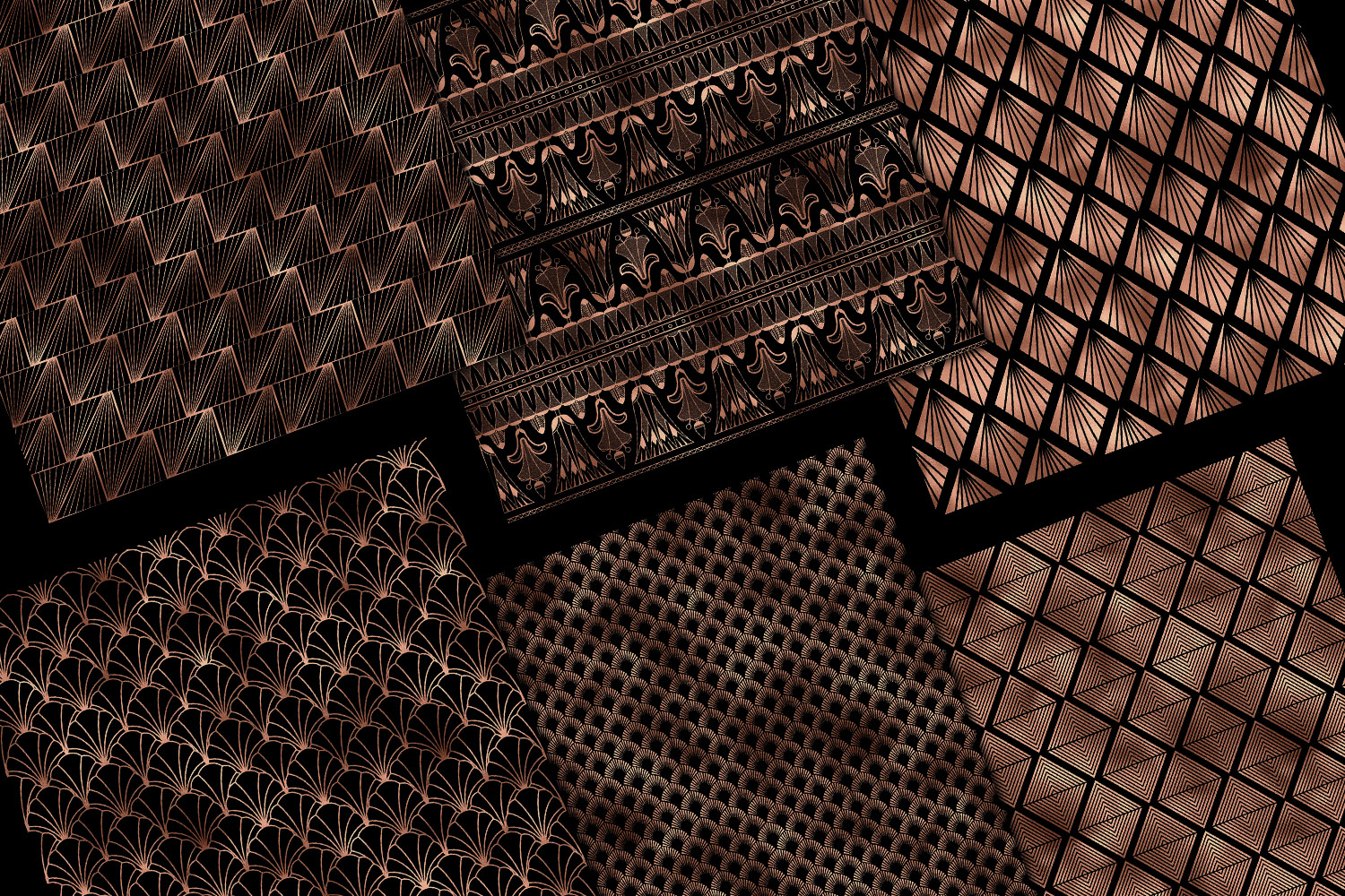 Black and Rose Gold Art Deco Digital Paper example image 4