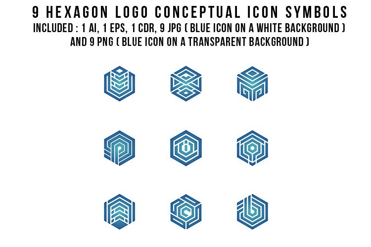 9 Hexagon Logo Conceptual Icon Symbols example image 2