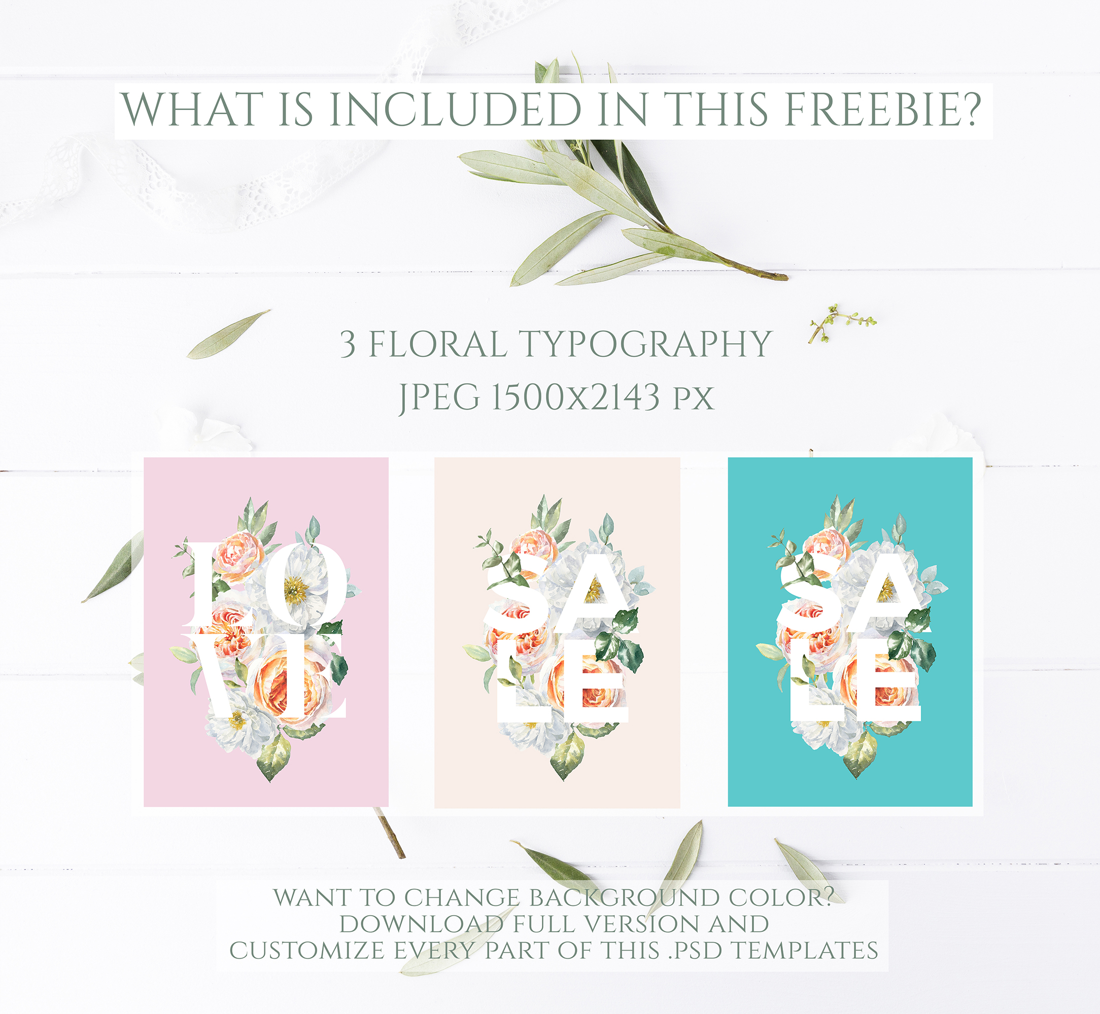FREEBIE Floral Typography Free Botanical graphics example image 8