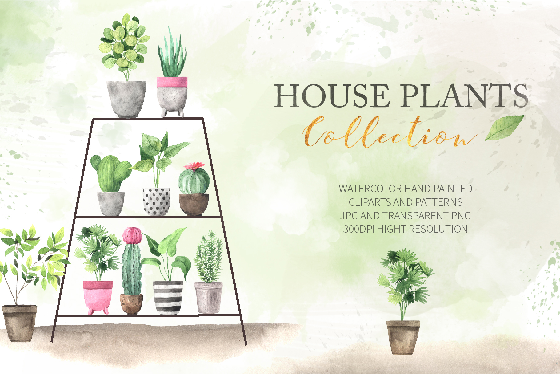 Watercolor House Plants Collection example image 1