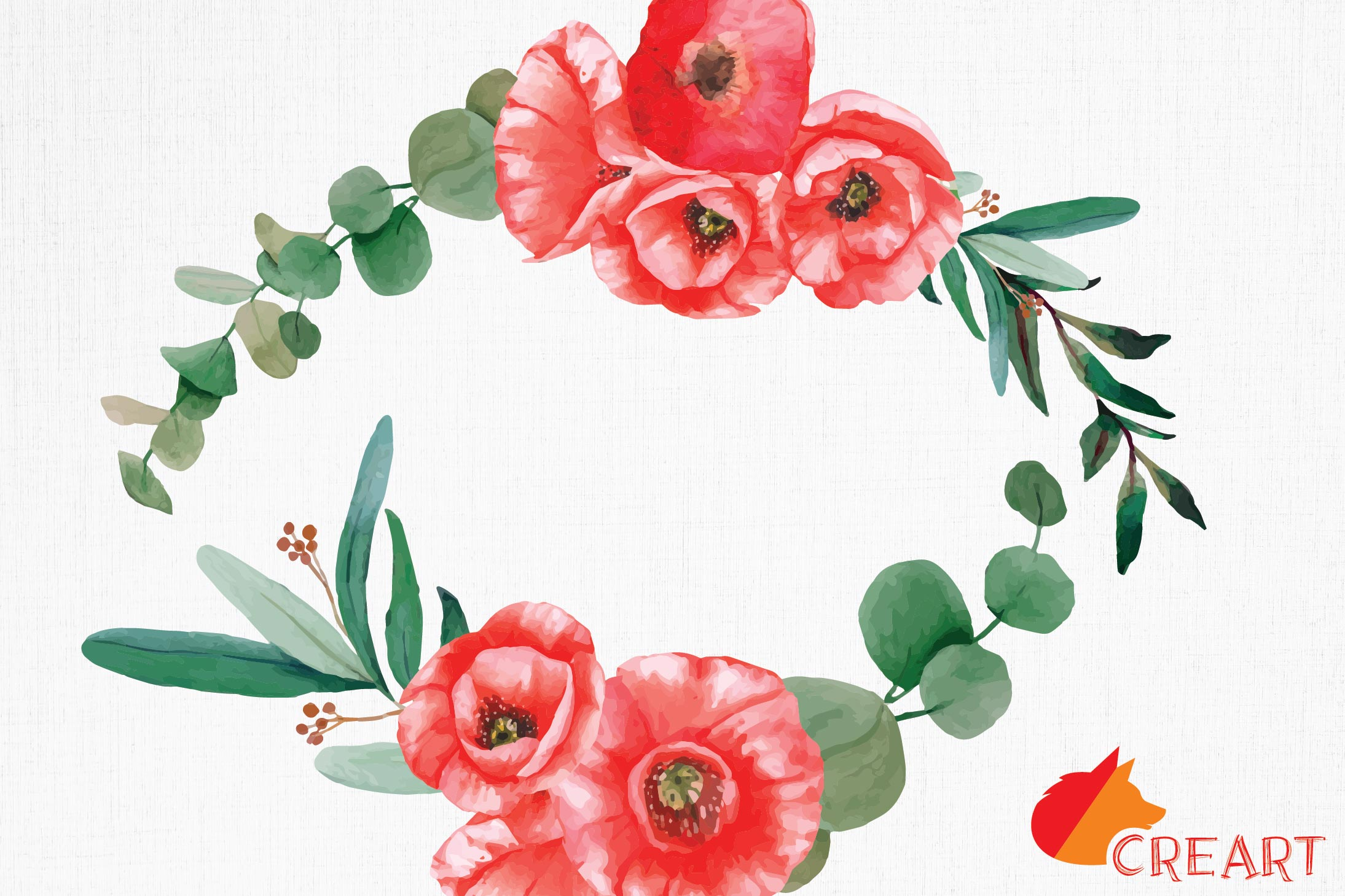 Red poppies floral watercolor wedding bouquets, floral decor example image 10