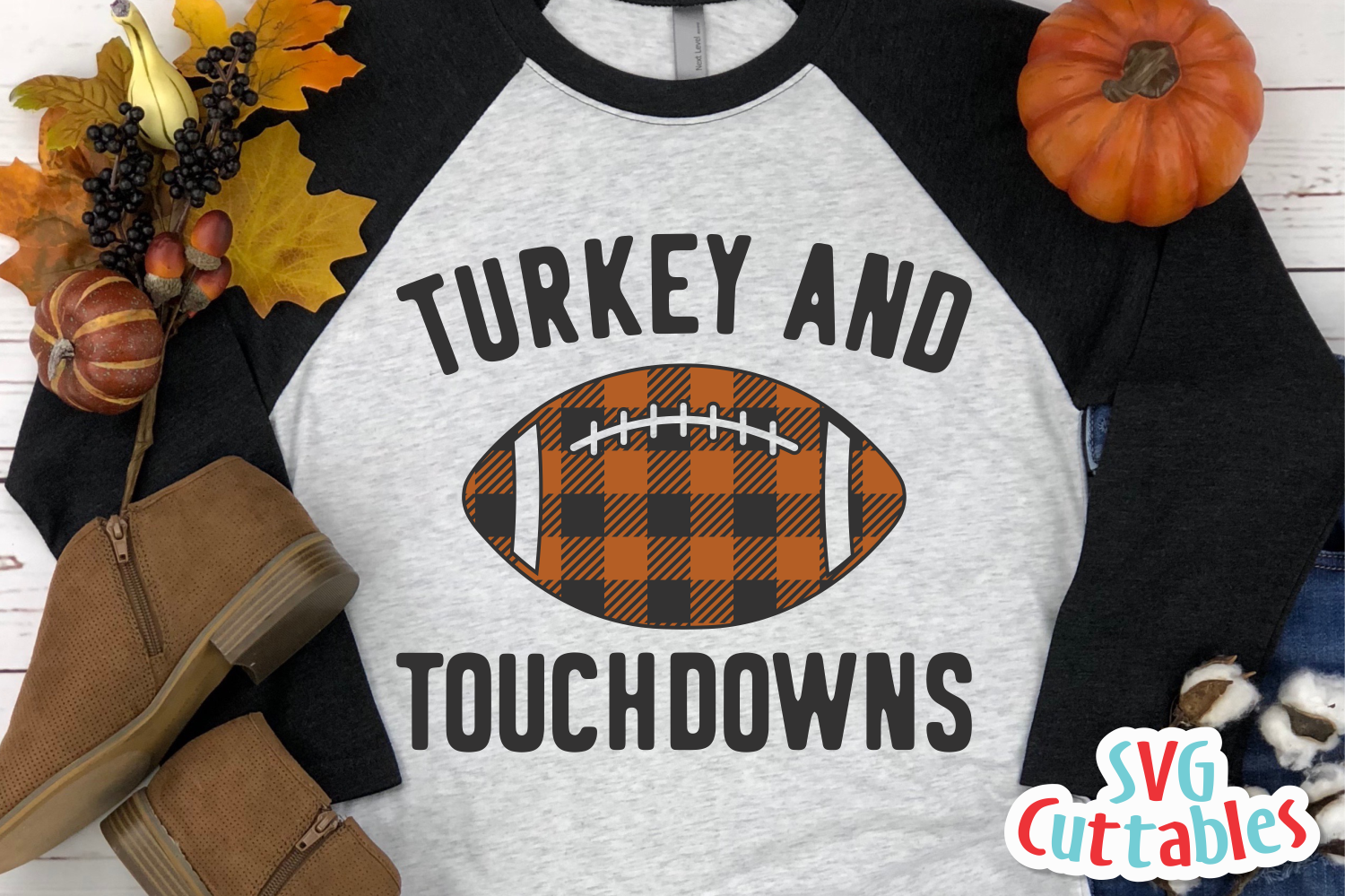 Turkey and Touchdowns | Thanksgiving Cut File example image 1