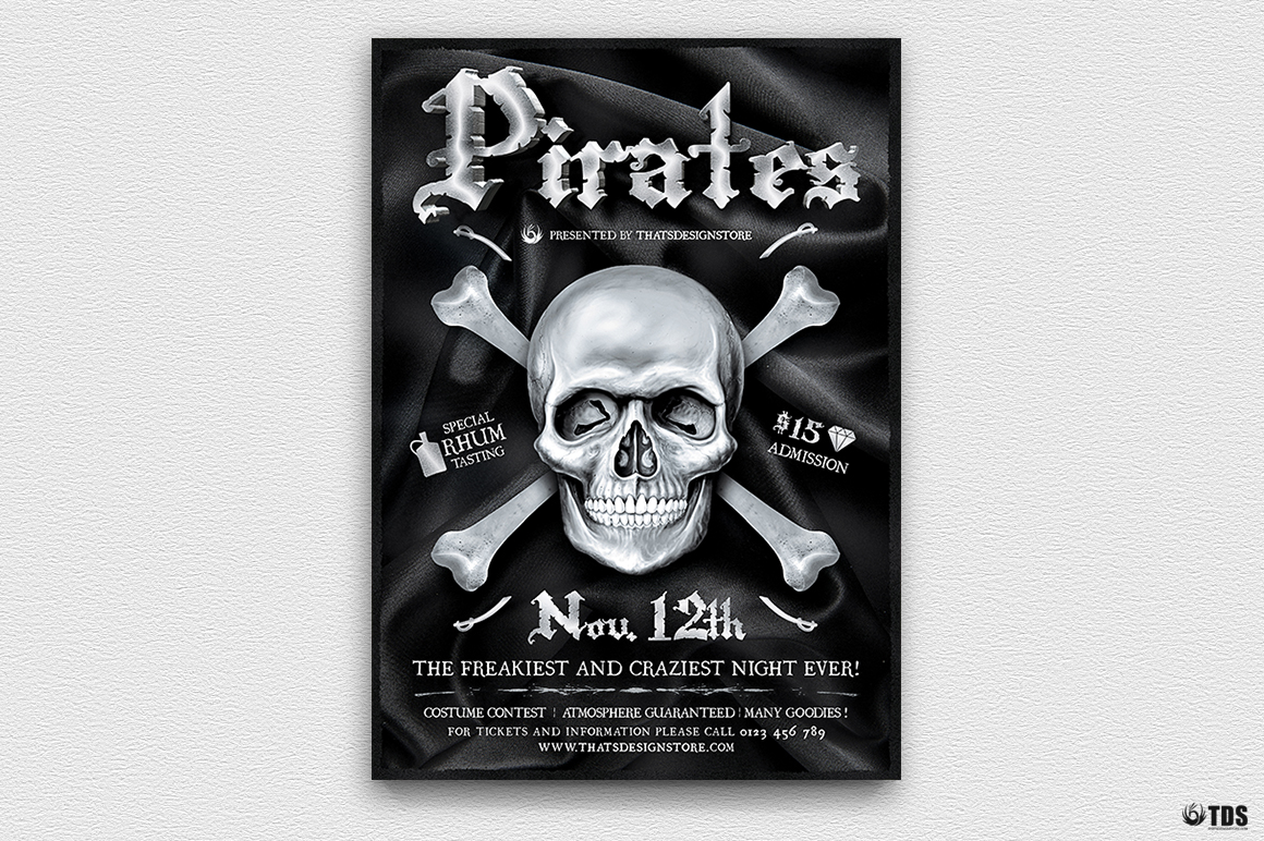 Pirates Party Flyer Template example image 2