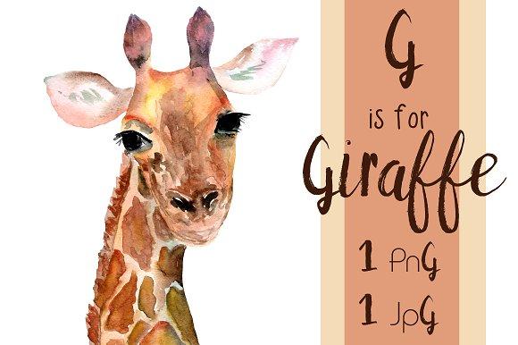 Watercolor Giraffe Print + Clip Art example image 2