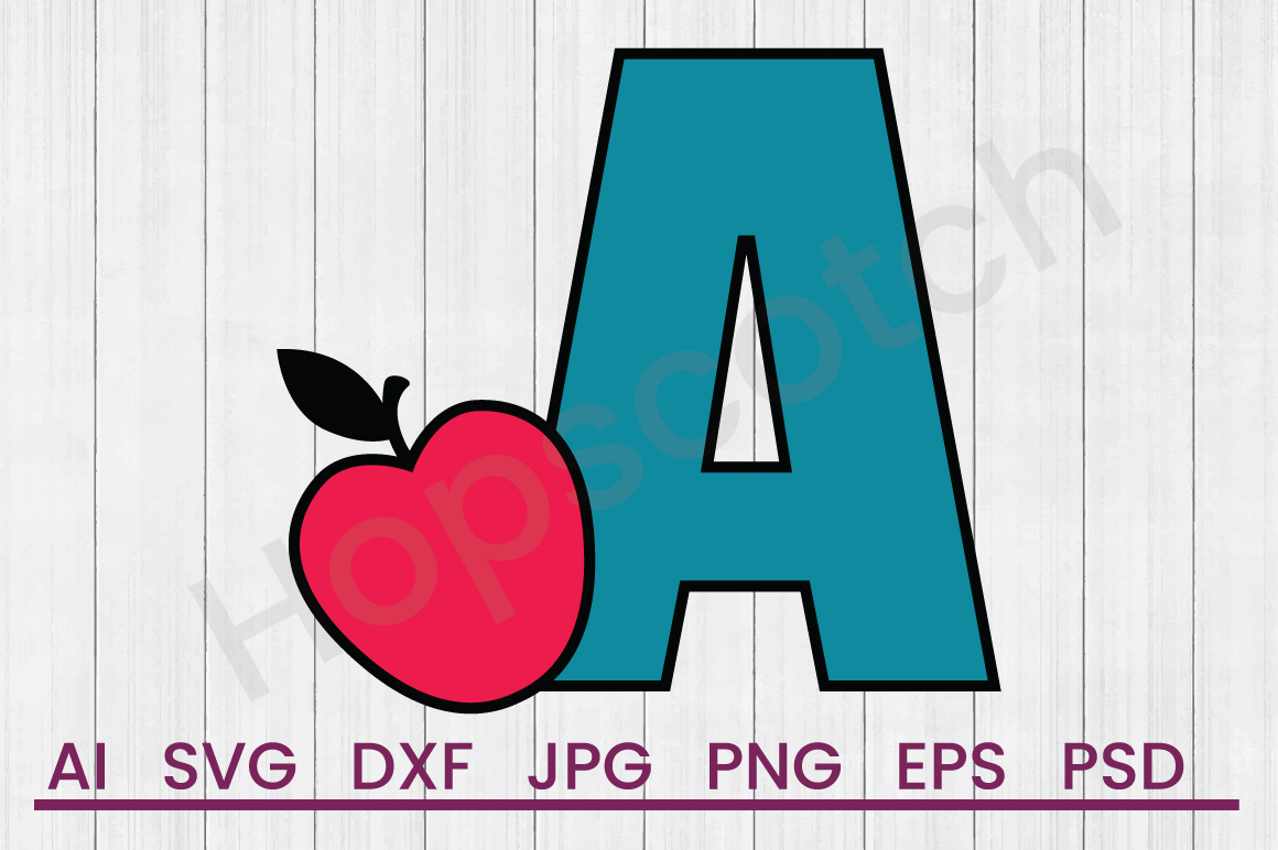 Apple SVG, A SVG, DXF File, Cuttatable File example image 1