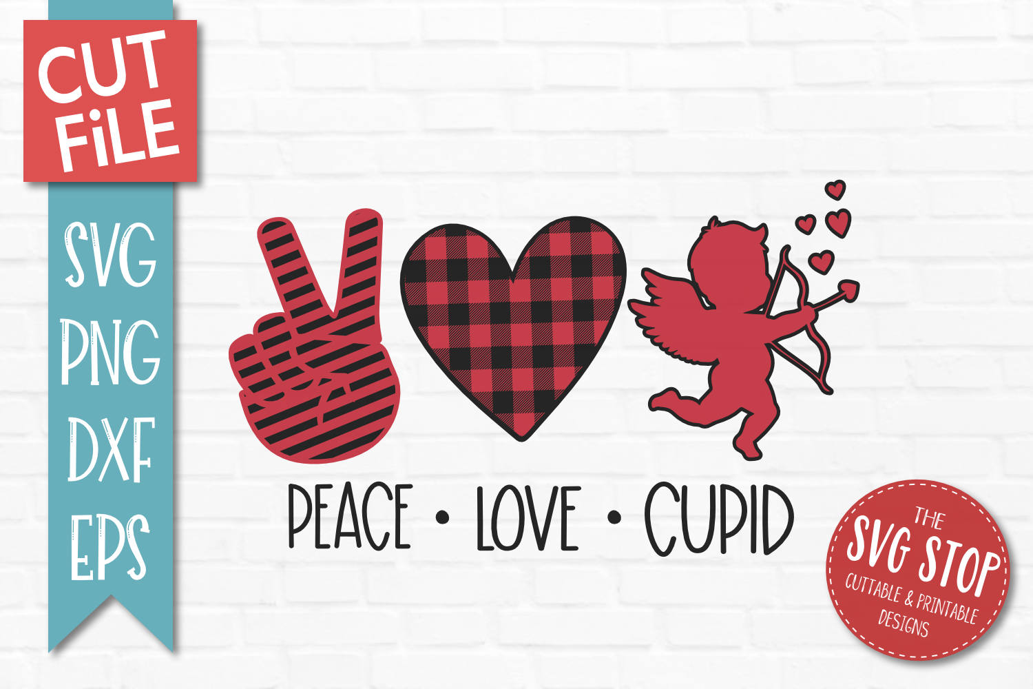 Peace Love Cupid SVG, PNG, DXF, EPS example image 1