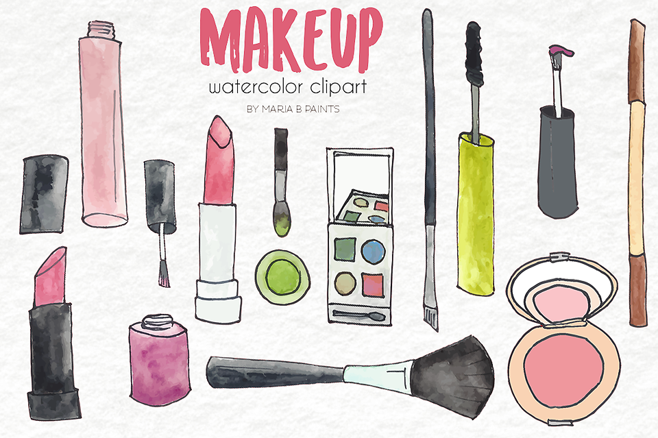 Watercolor Clip Art - Make Up example image 2
