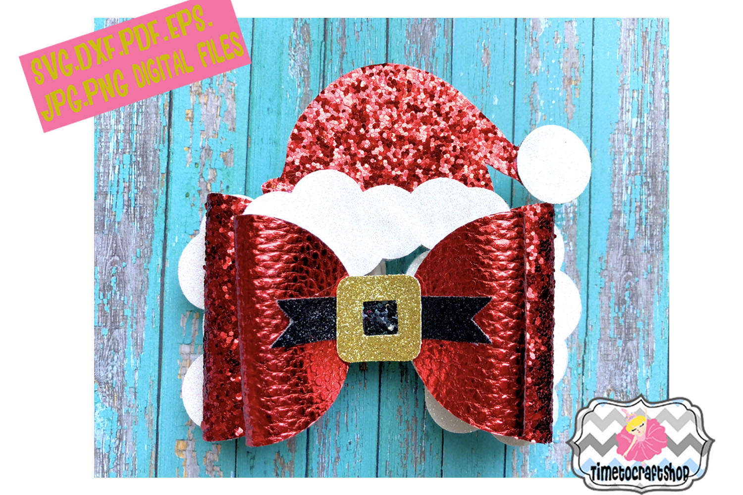 Holiday Christmas Hair Bow Template Bundle example image 7
