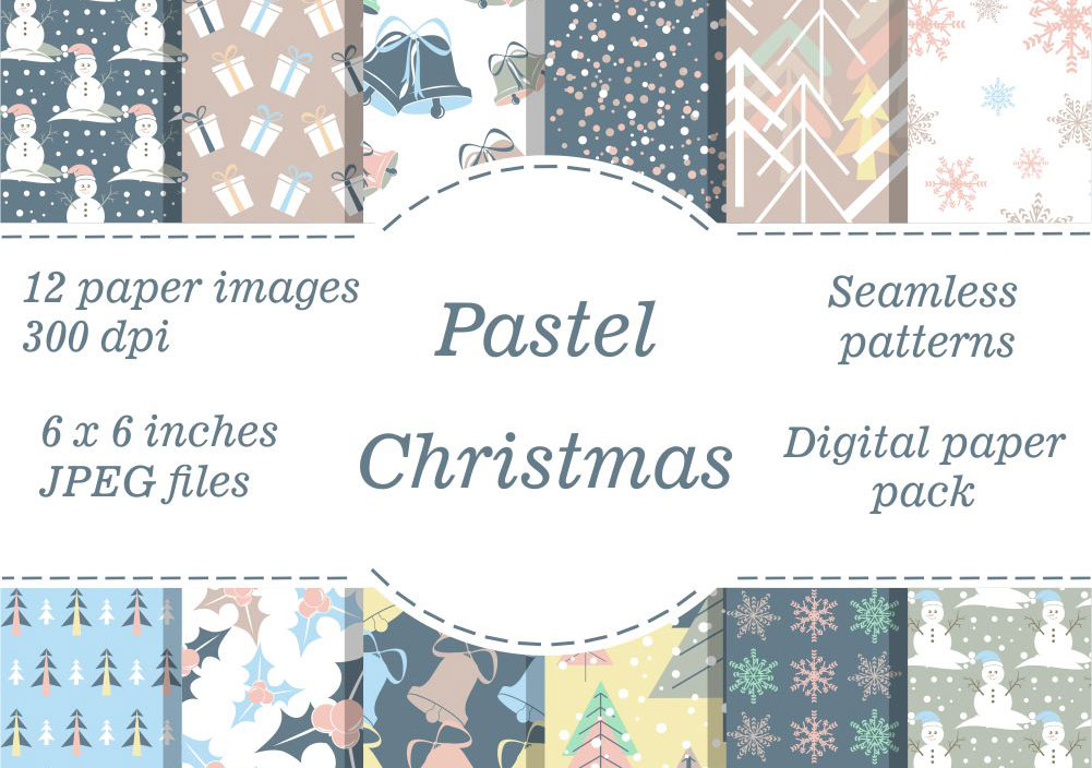 Pastel Christmas Digital Papers example image 1