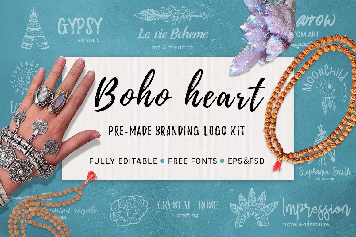 Boho heart - branding logo kit example image 1