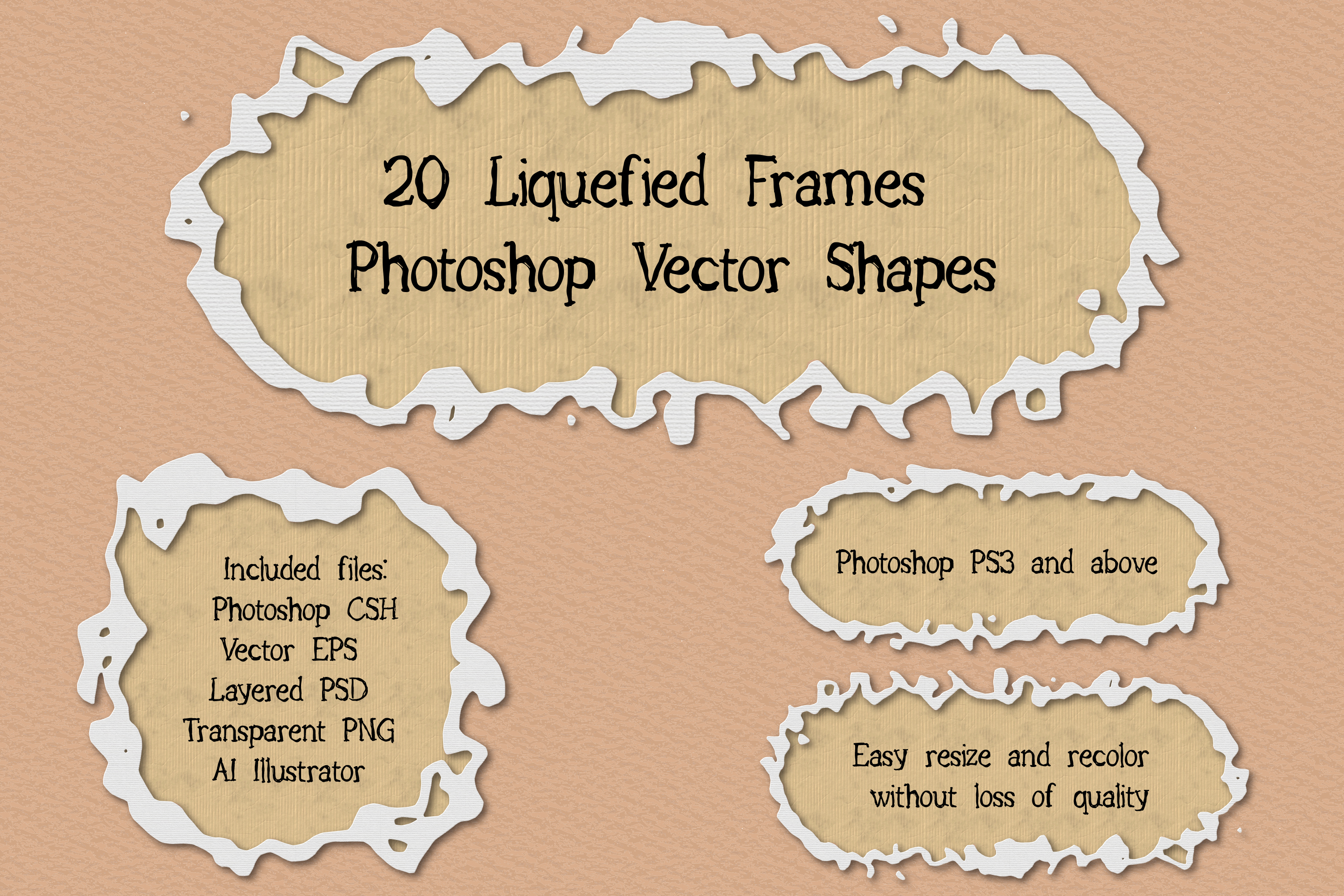 20 Liquefied Frame Vector Photoshop Shapes Set example image 1