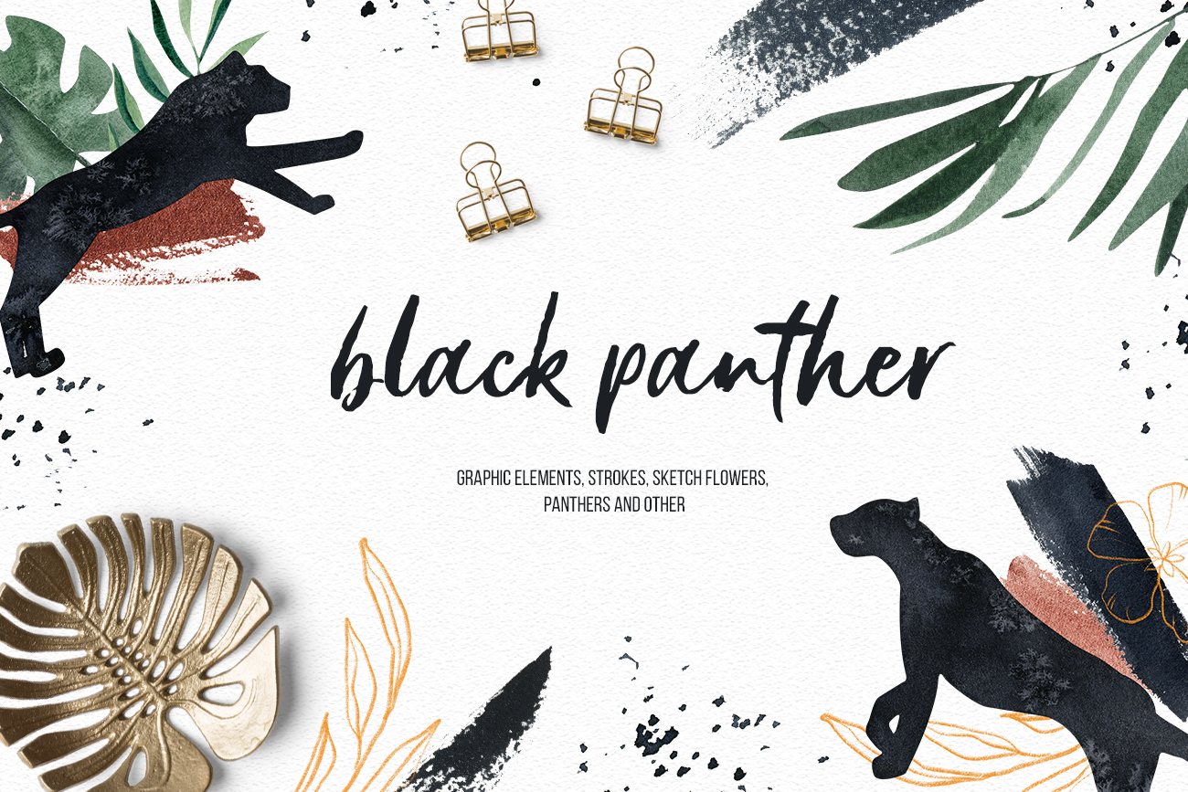 Black Panther clipart watercolor tropical clipart, gold leaf example image 1