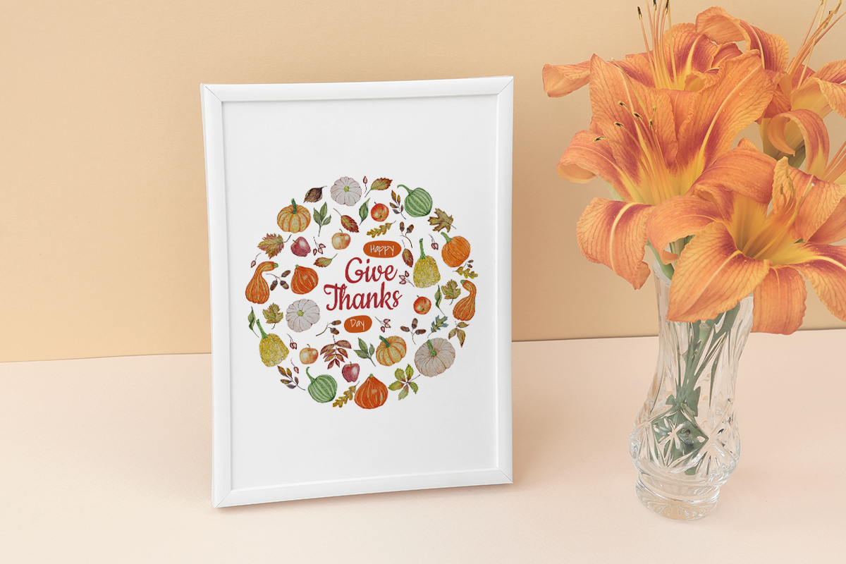 Watercolor Autumn holiday wreaths. Thanksgiving. Pumpkin example image 7