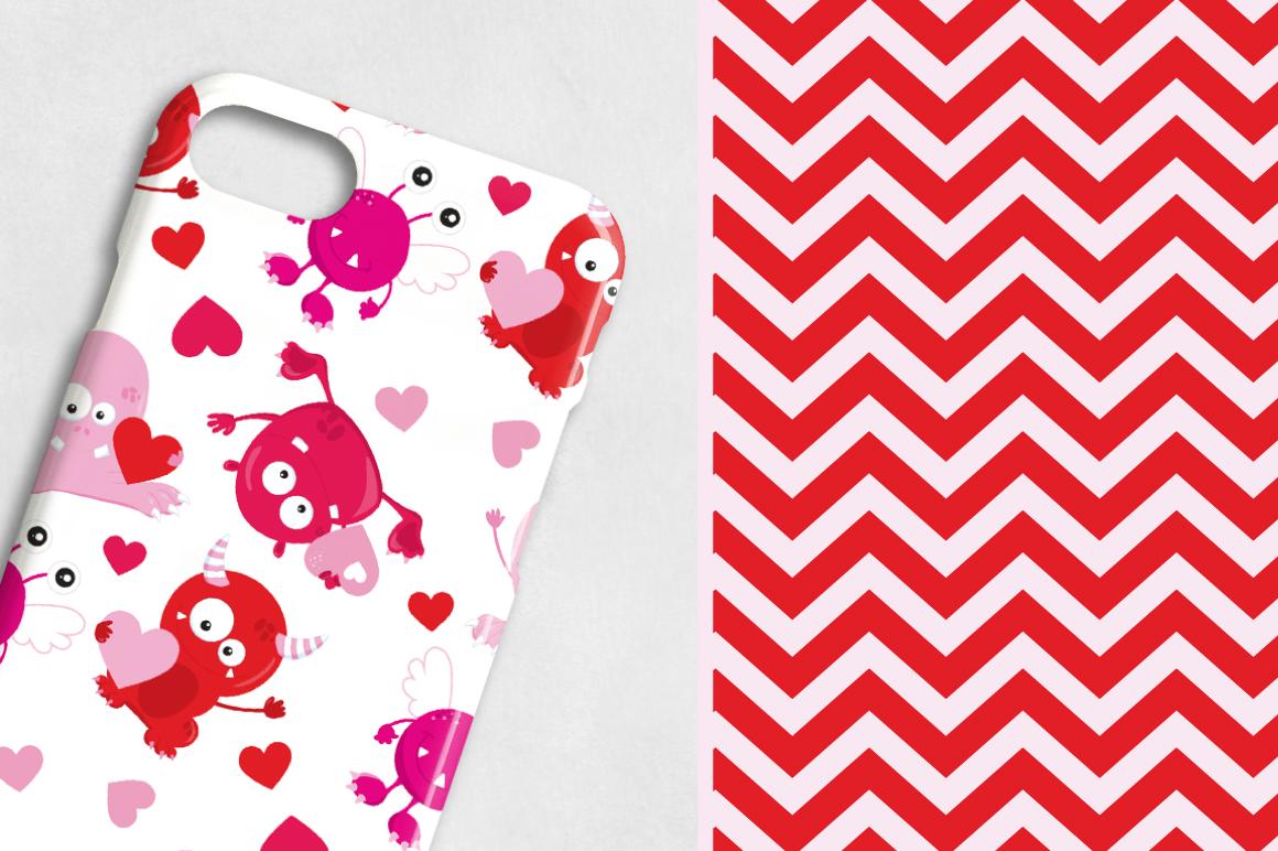 Valentine Monsters princedigital papers example image 5