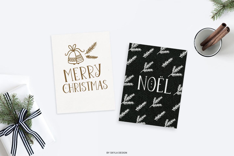 Joyeux Christmas font & Dingbat clipart illustrations example image 2
