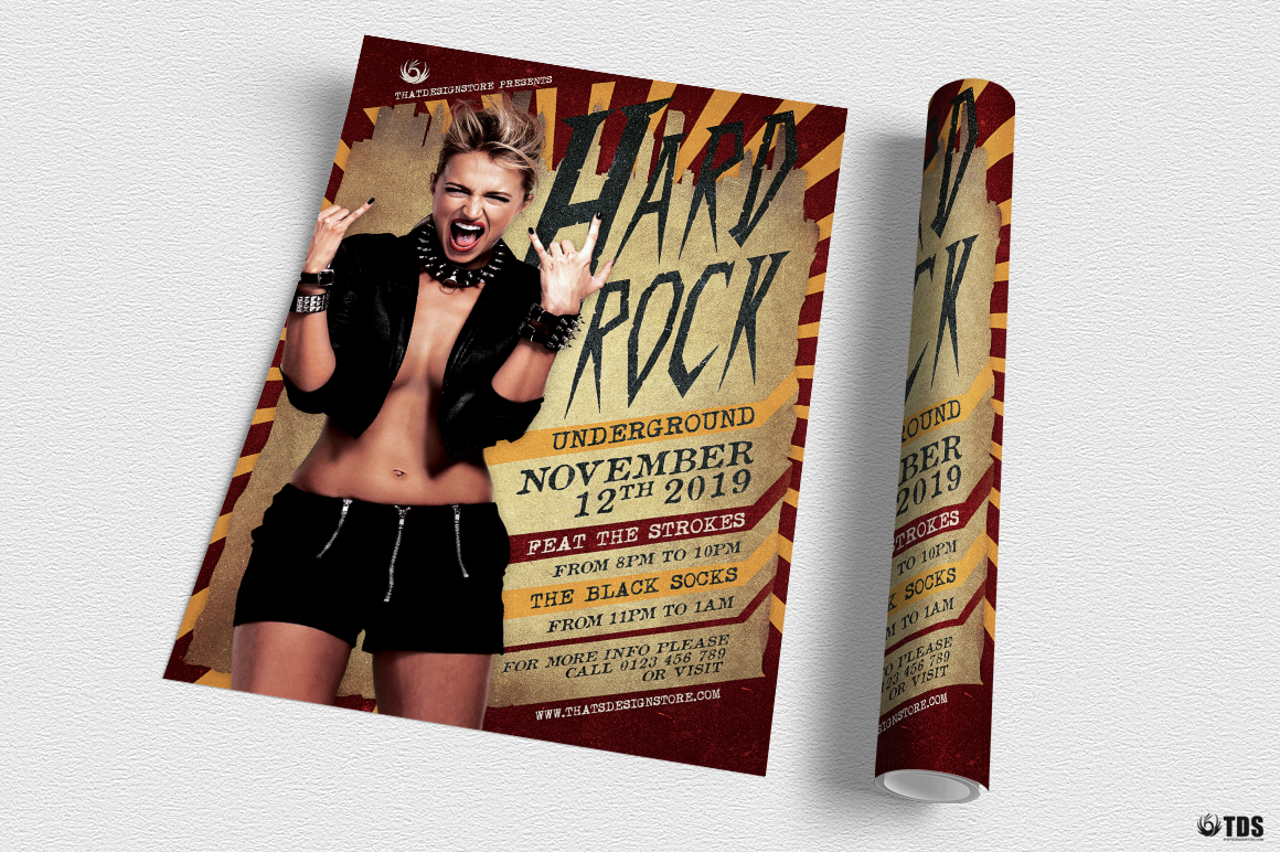 Hard Rock Underground Flyer Template example image 4