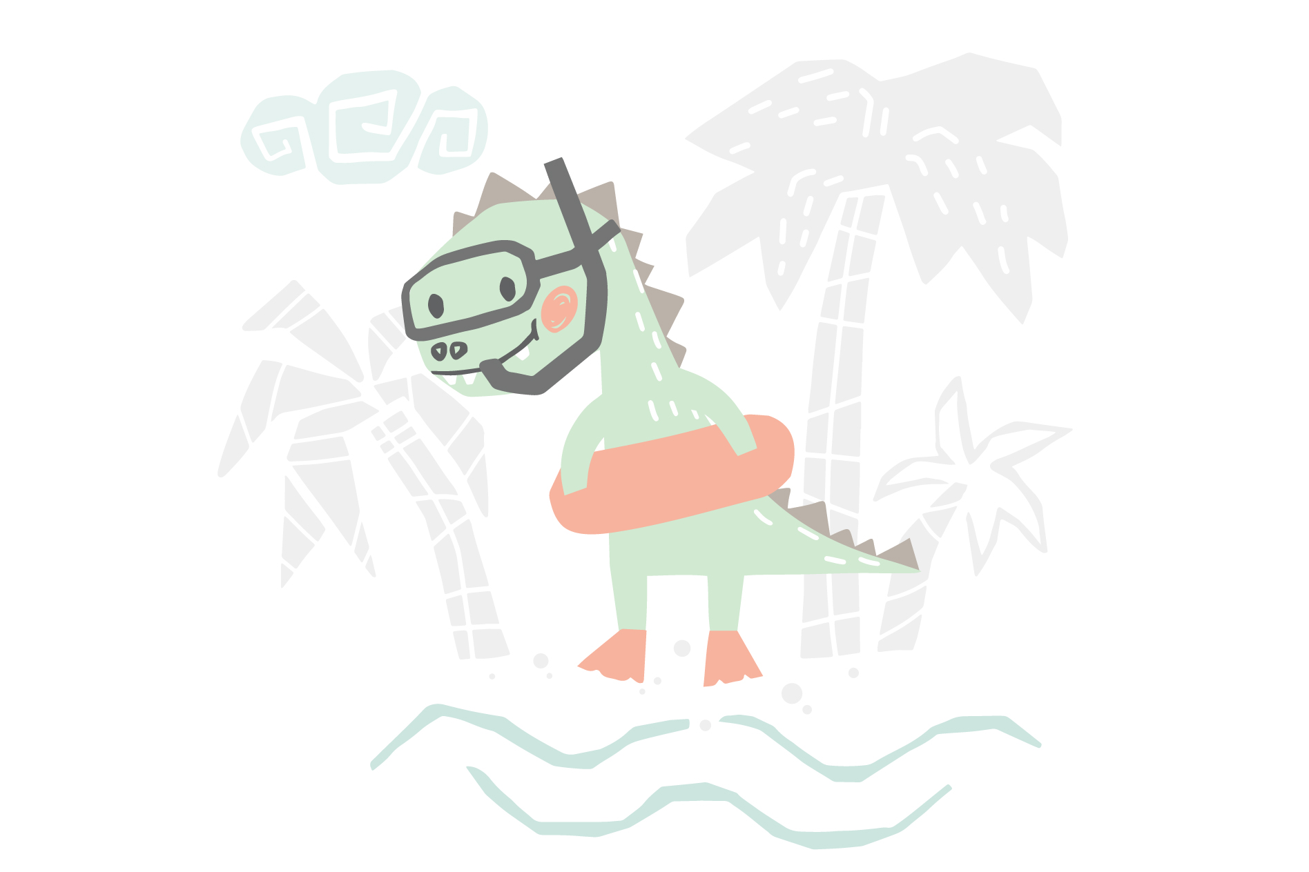 Dinosaurs on the beach. Kids vector example image 7