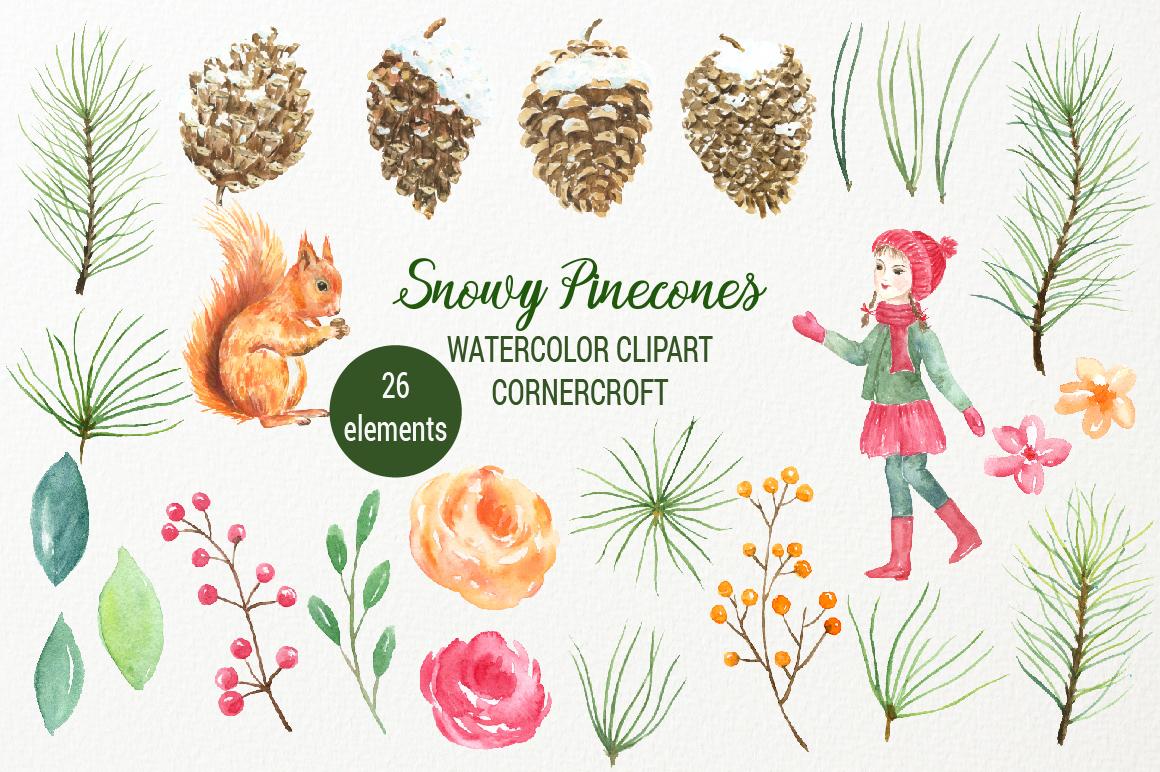 Snowy Pine Cones Watercolor Clipart example image 6