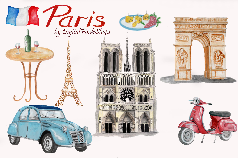 Paris clipart, Notre Dame, scooter clipart, eiffel tower example image 4