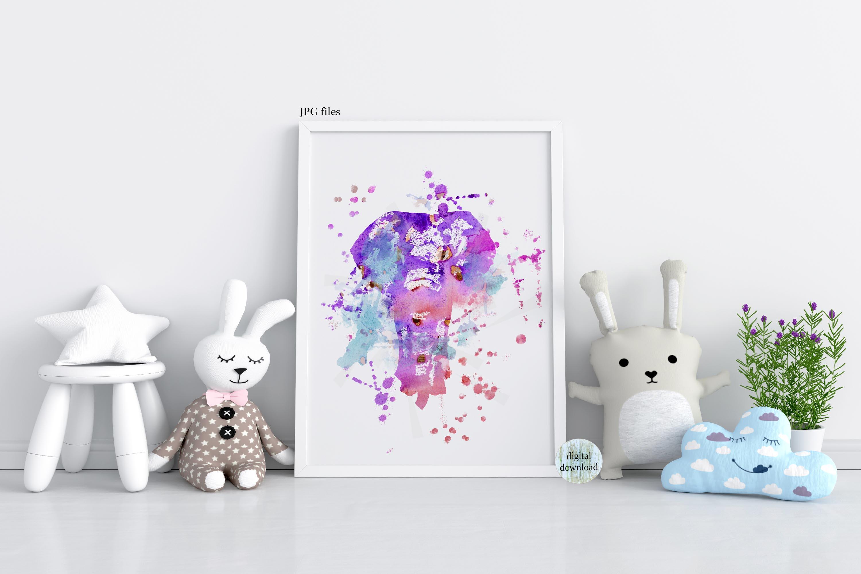 Elephant wall art abstract animal painting printable JPG example image 4