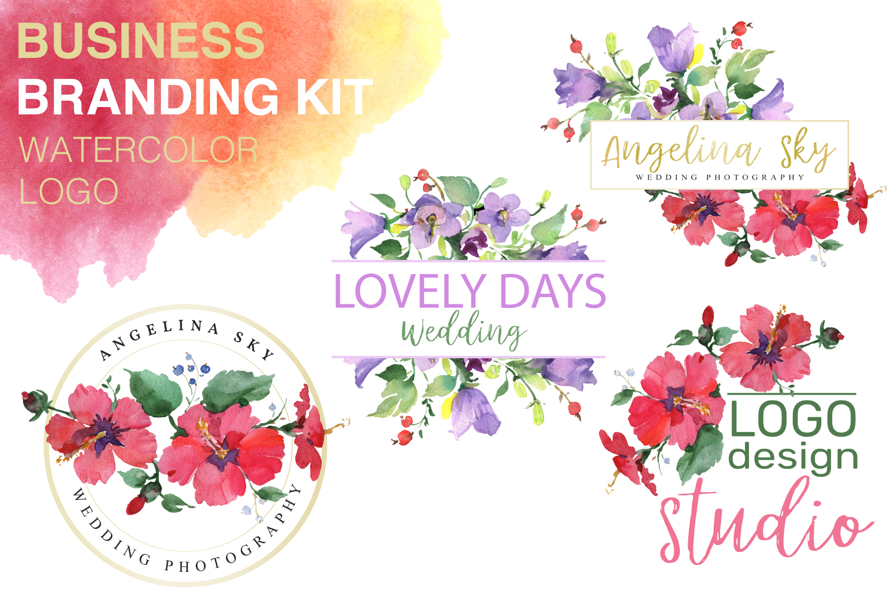 LOGO with red hibiscus and bluebells Watercolor png example image 1