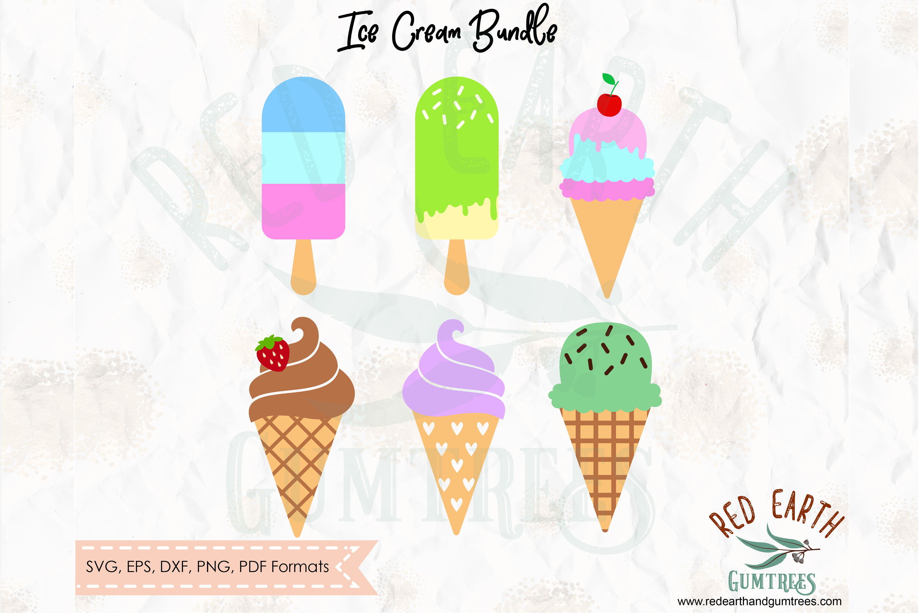 Ice cream split monogram frame, ice cream circle frame SVG example image 2