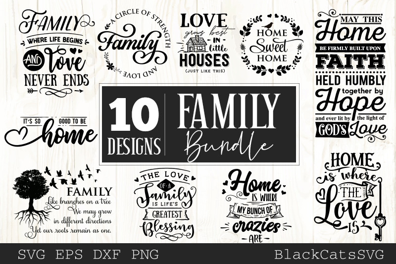 Family and home SVG bundle 10 designs Family SVG bundle example image 1