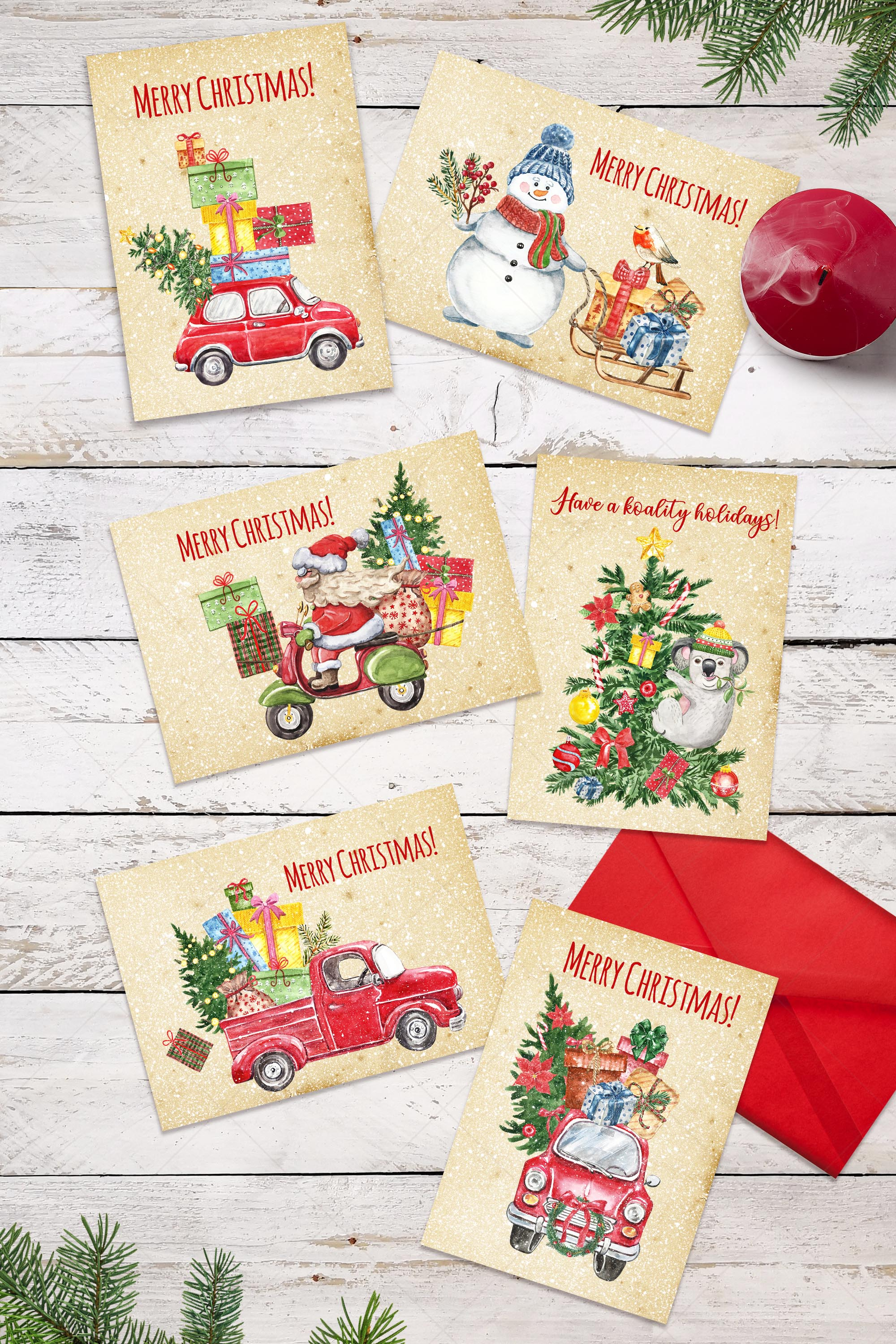 Watercolor Christmas Card Clip Art Holiday Card Set template example image 5