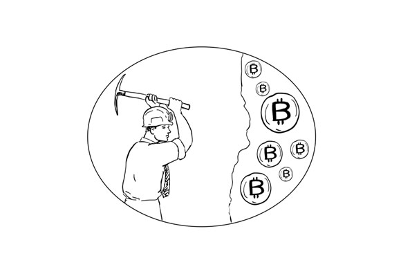 Bitcoin Miner Cryptocurrency Drawing example image 1