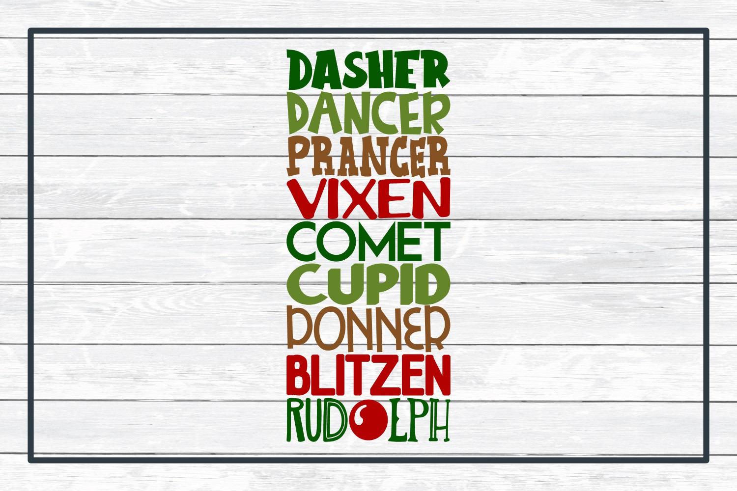 Reindeer Names, Christmas SVG Cut File for Crafters example image 3