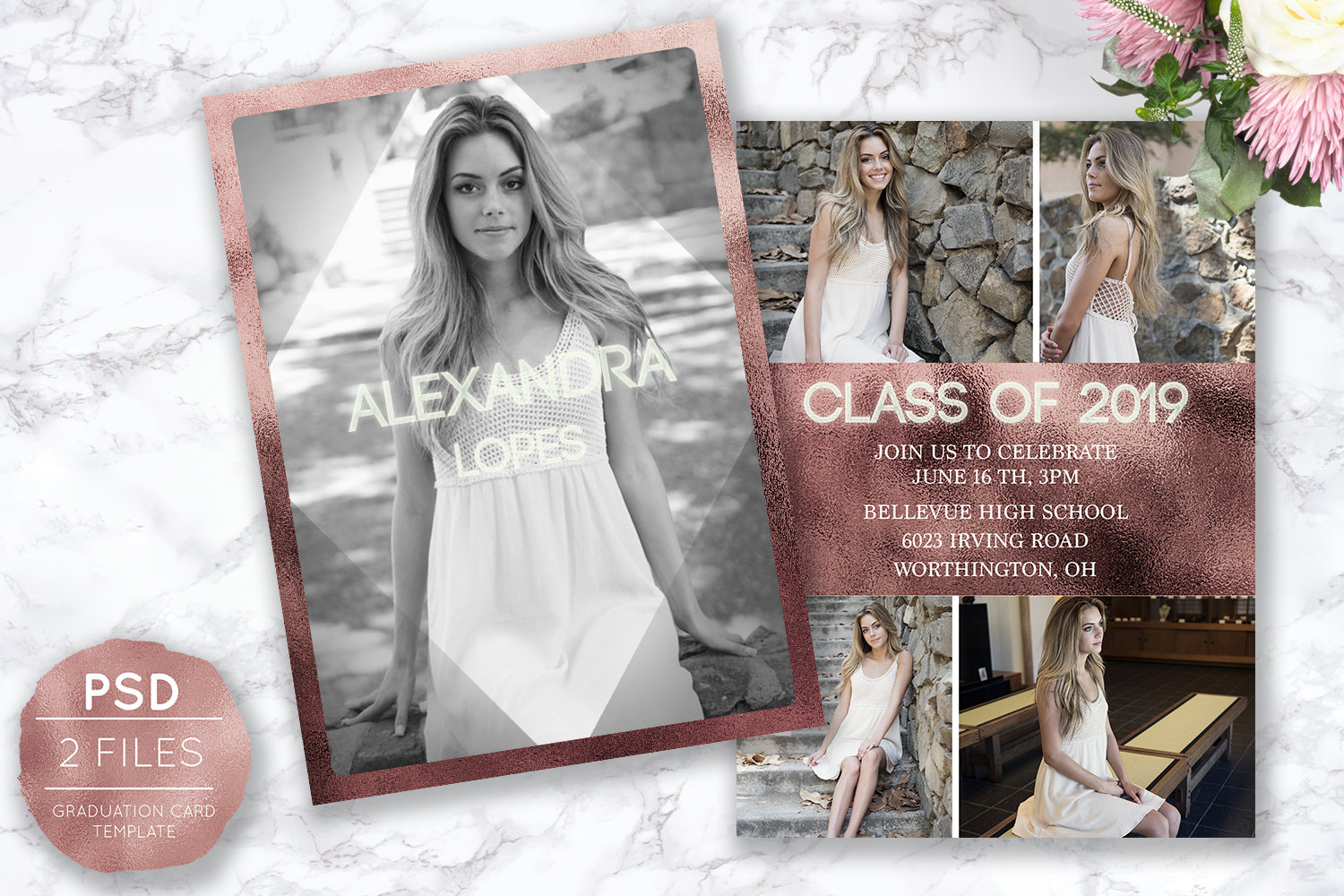 Senior Announcement Card - Rose gold - Photoshop Template example image 1