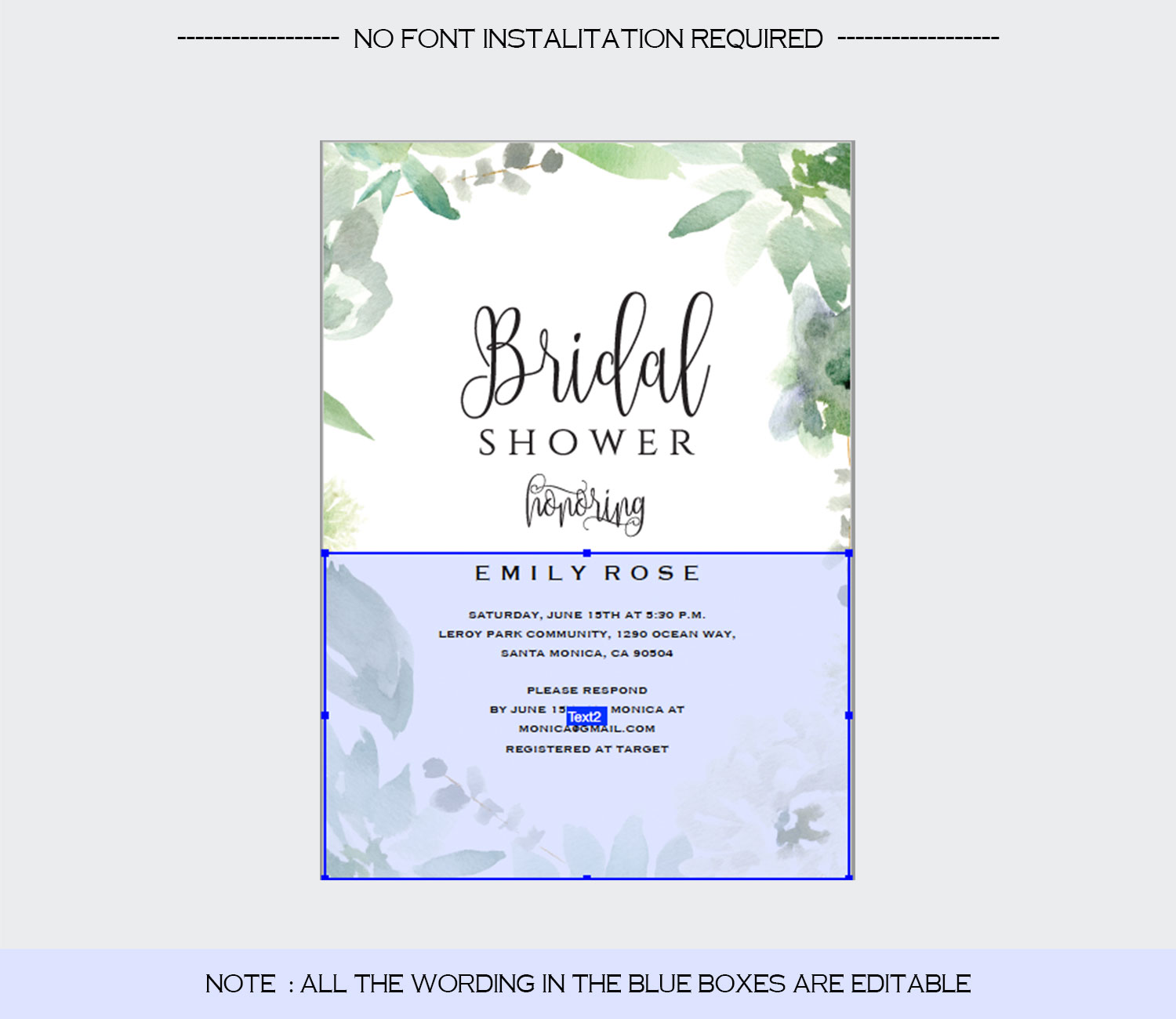 Bridal Shower Invitation Template example image 4