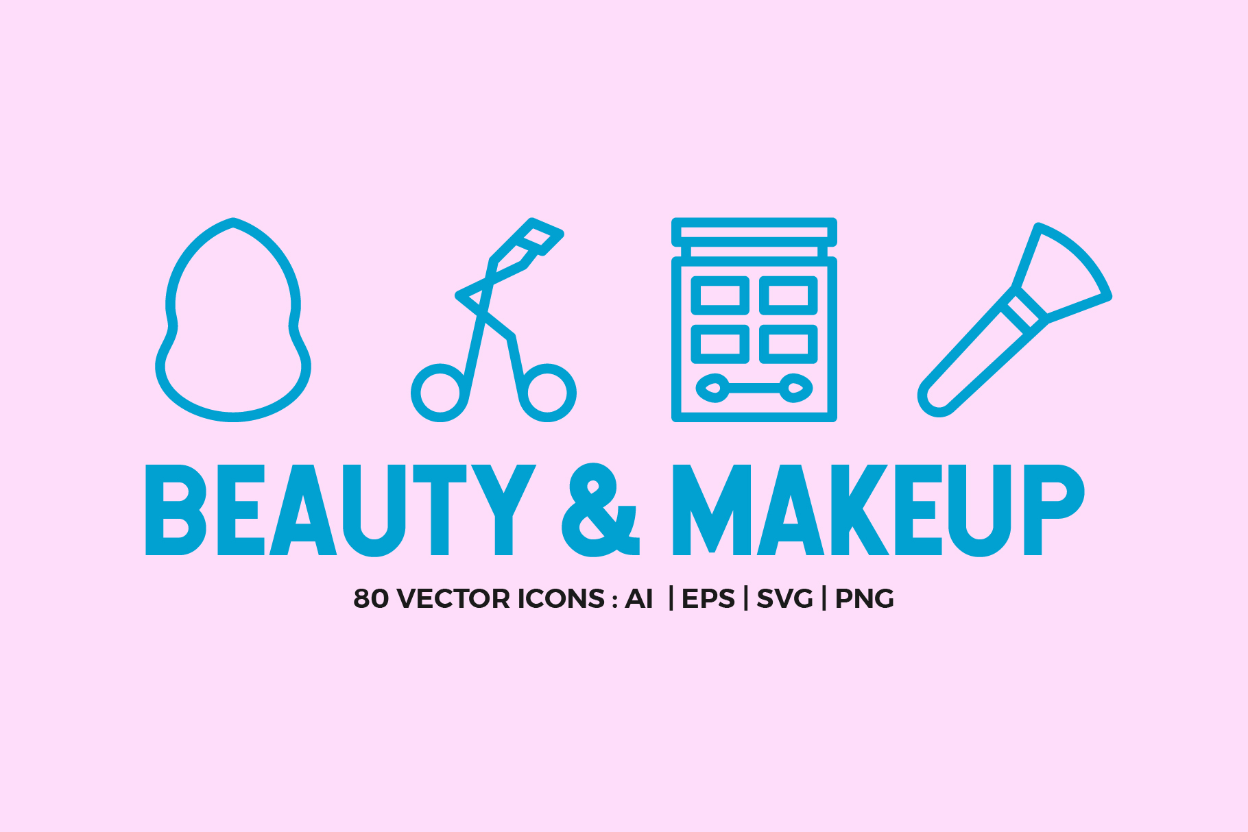 80 Beauty & Makeup Line Icons example image 1