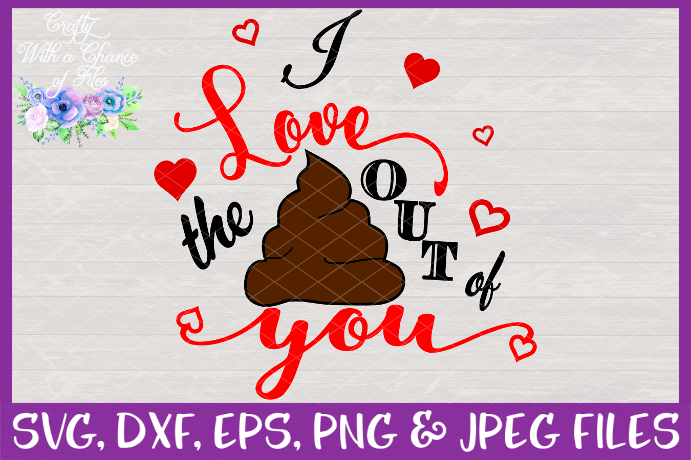 I Love The Poo Out Of You SVG - Valentines Day Toilet Paper example image 3