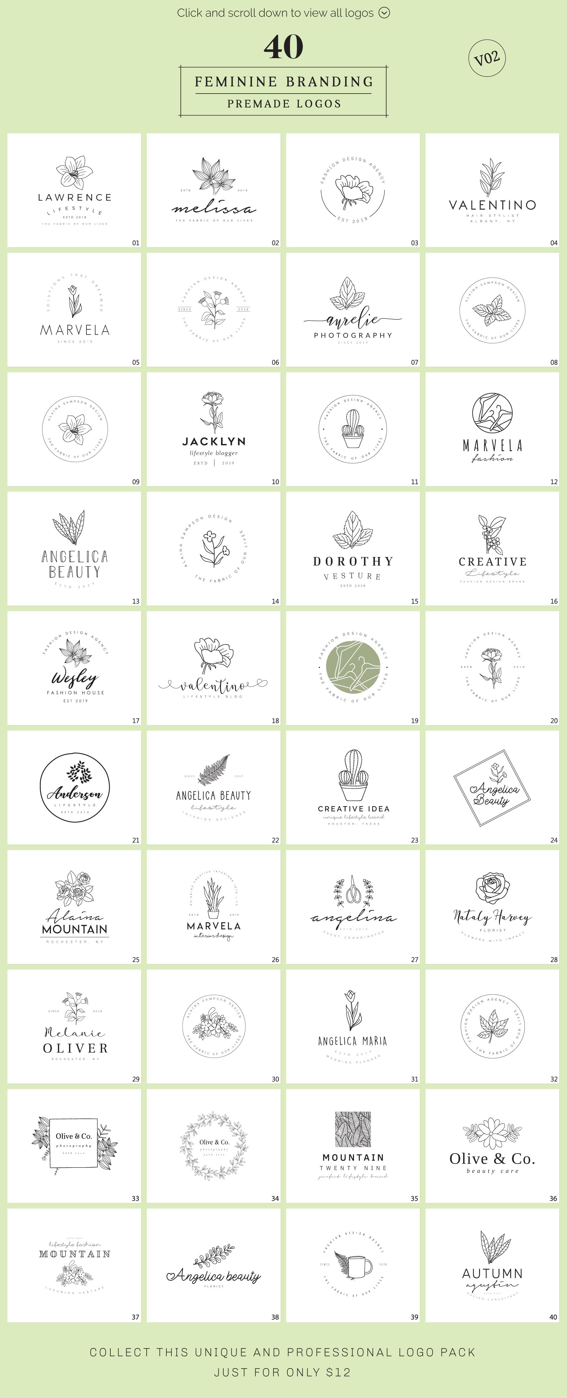 Feminine Branding Premade Logos V02 example image 2