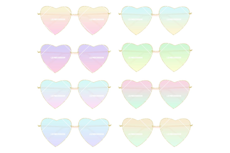Heart shaped Sunglasses Clipart Illustration example image 1