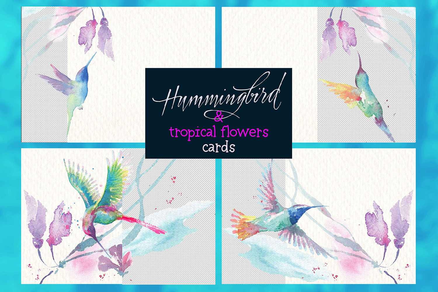 hummingbirds & tropical flowers watercolor clipart example image 3
