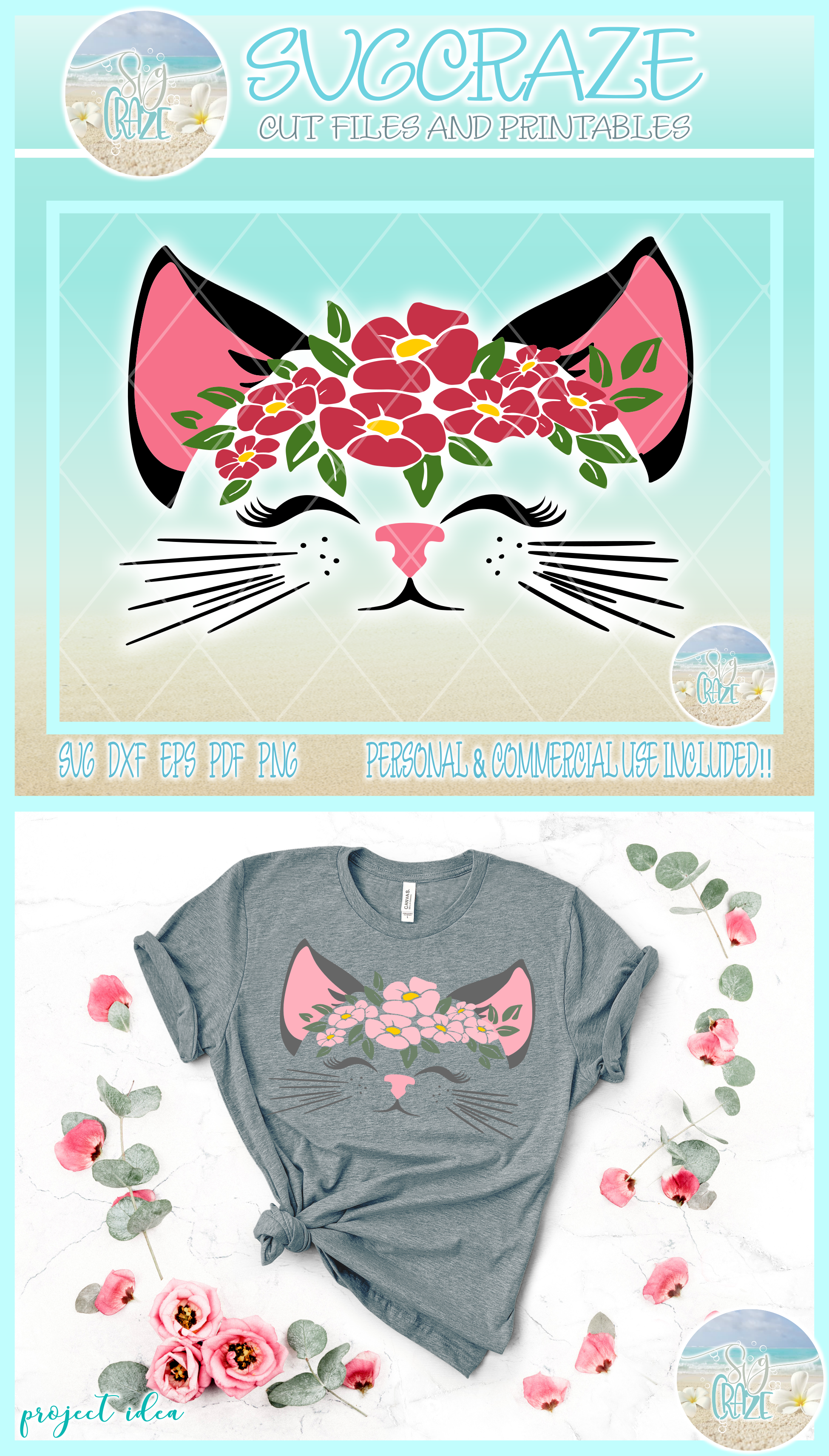 Cat Face With Flowers Svg Dxf Eps Png Svg Files For Cricut example image 3
