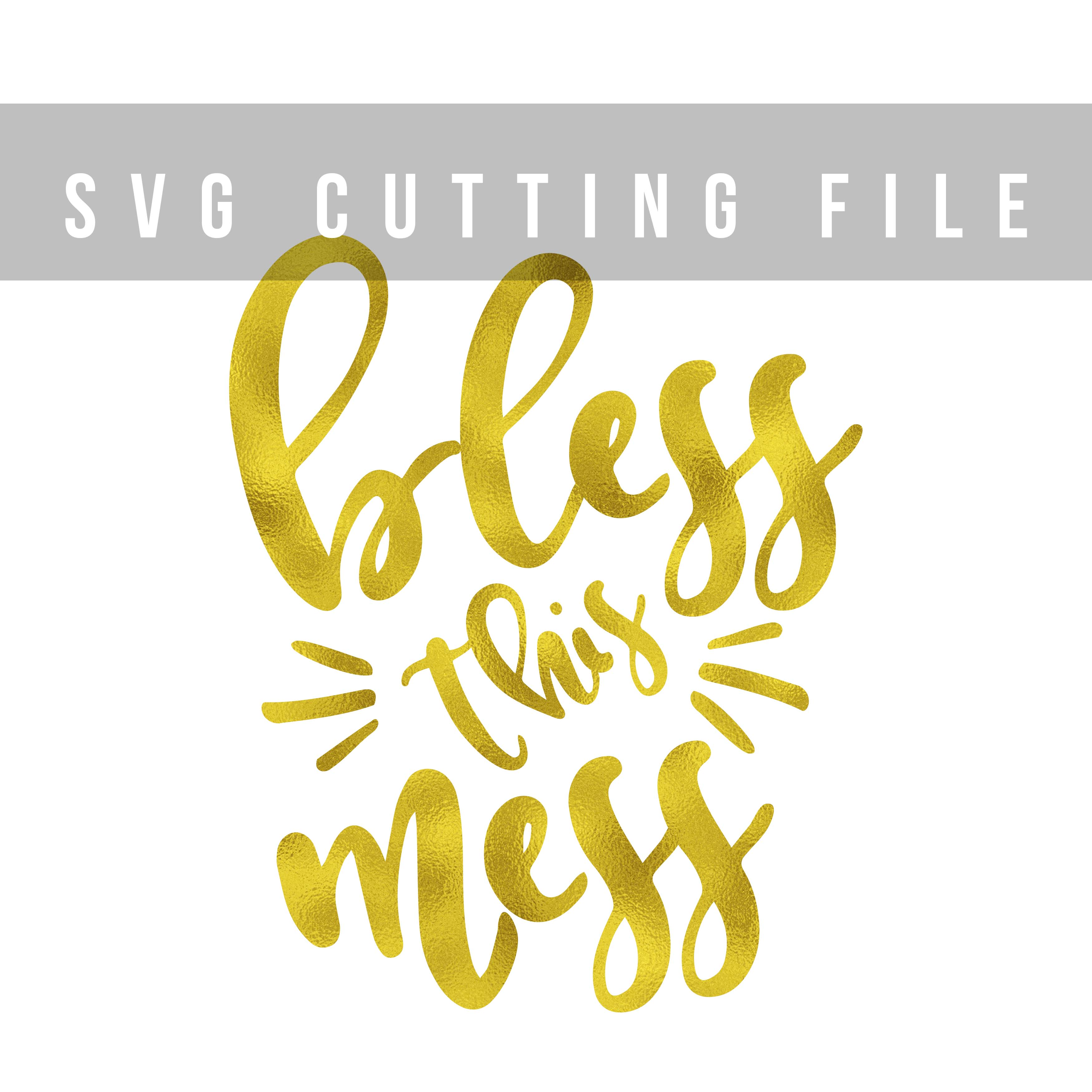 Bless this mess SVG PNG EPS DXF, Funny svg design for cut example image 2