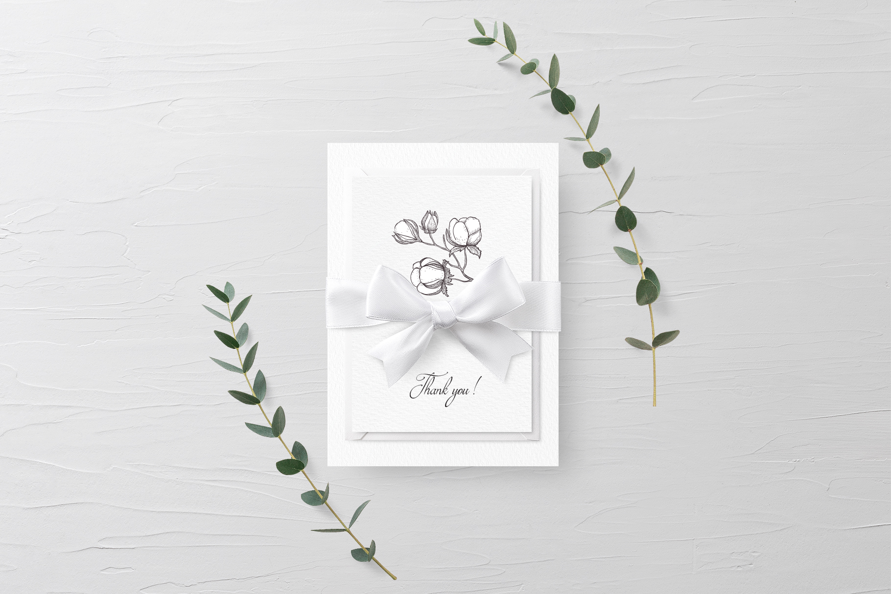 White Magnolia and Cotton. Trendy Greenery example image 16